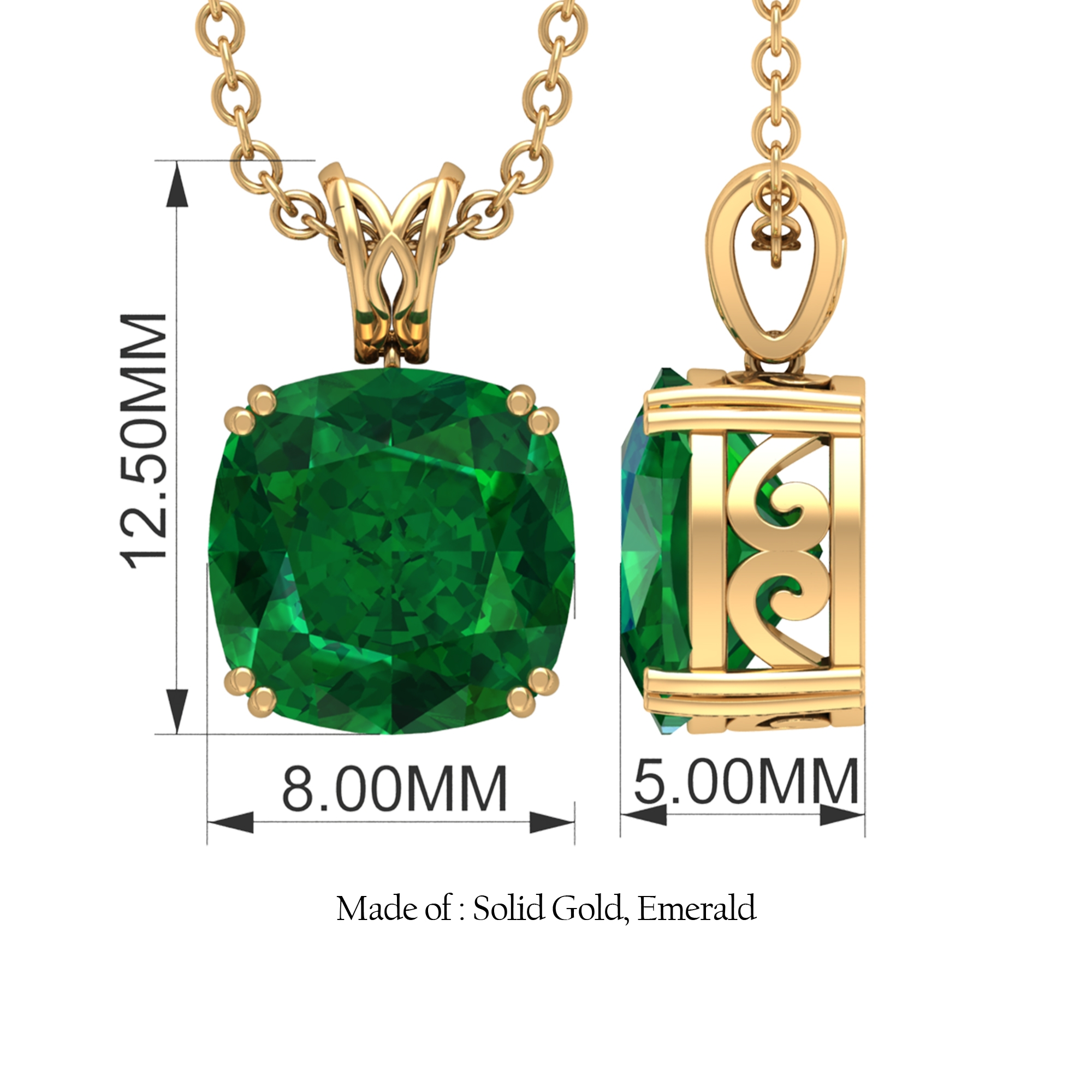 8 MM Cushion Cut Emerald Solitaire Minimal Pendant in Double Prong Setting with Decorative Bail
