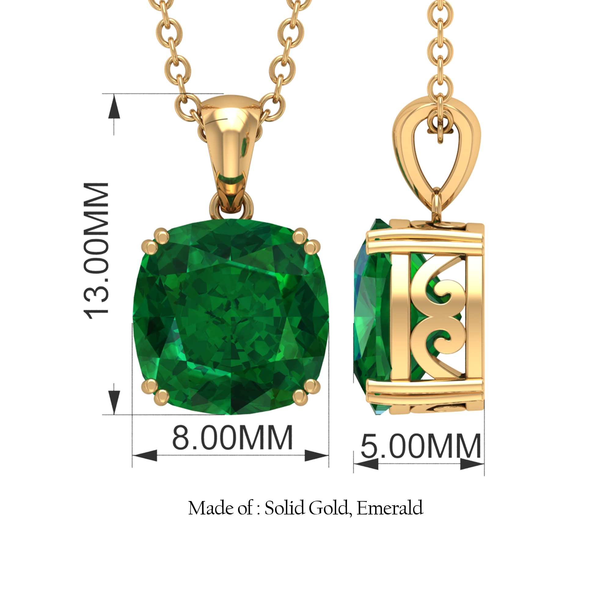 8 MM Cushion Cut Emerald Solitaire Pendant in Double Prong Setting