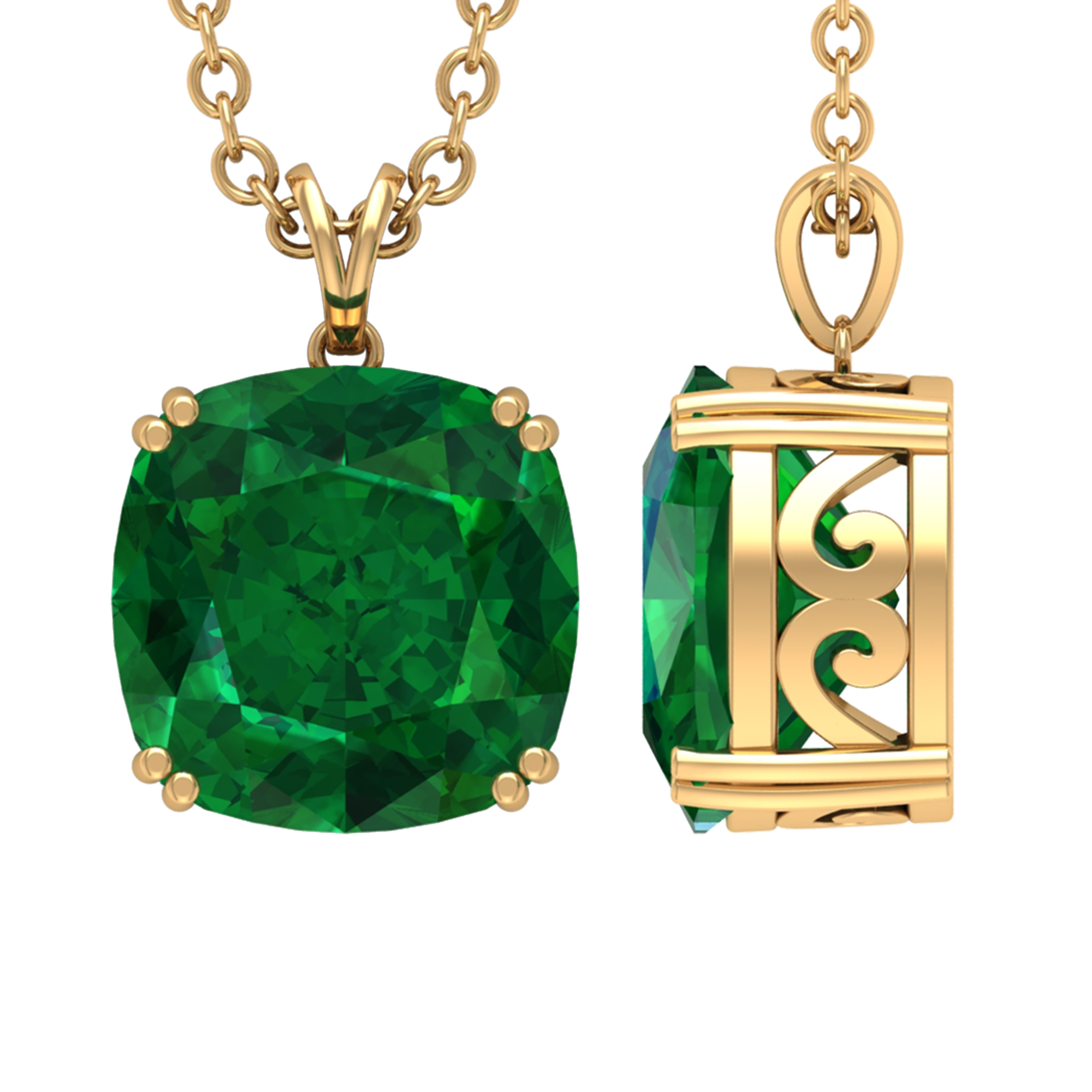 8 MM Cushion Cut Emerald Solitaire Pendant in Double Prong Setting with Rabbit Ear Bail