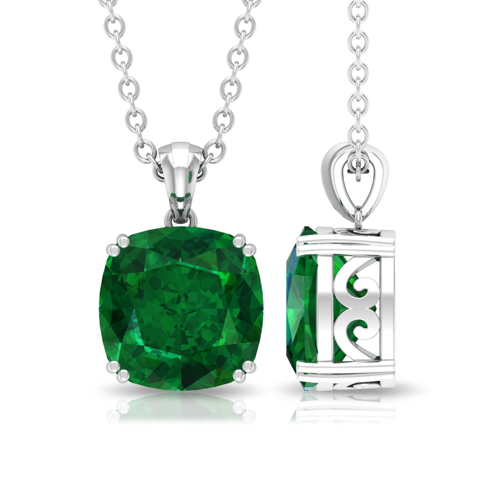 8 MM Cushion Cut Emerald Solitaire Simple Pendant in Double Prong Setting