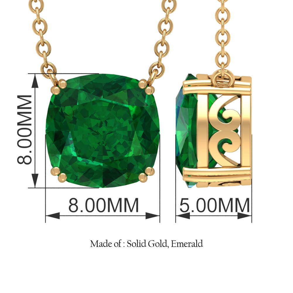 8 MM Cushion Cut Emerald Solitaire Simple Necklace in Double Prong Setting