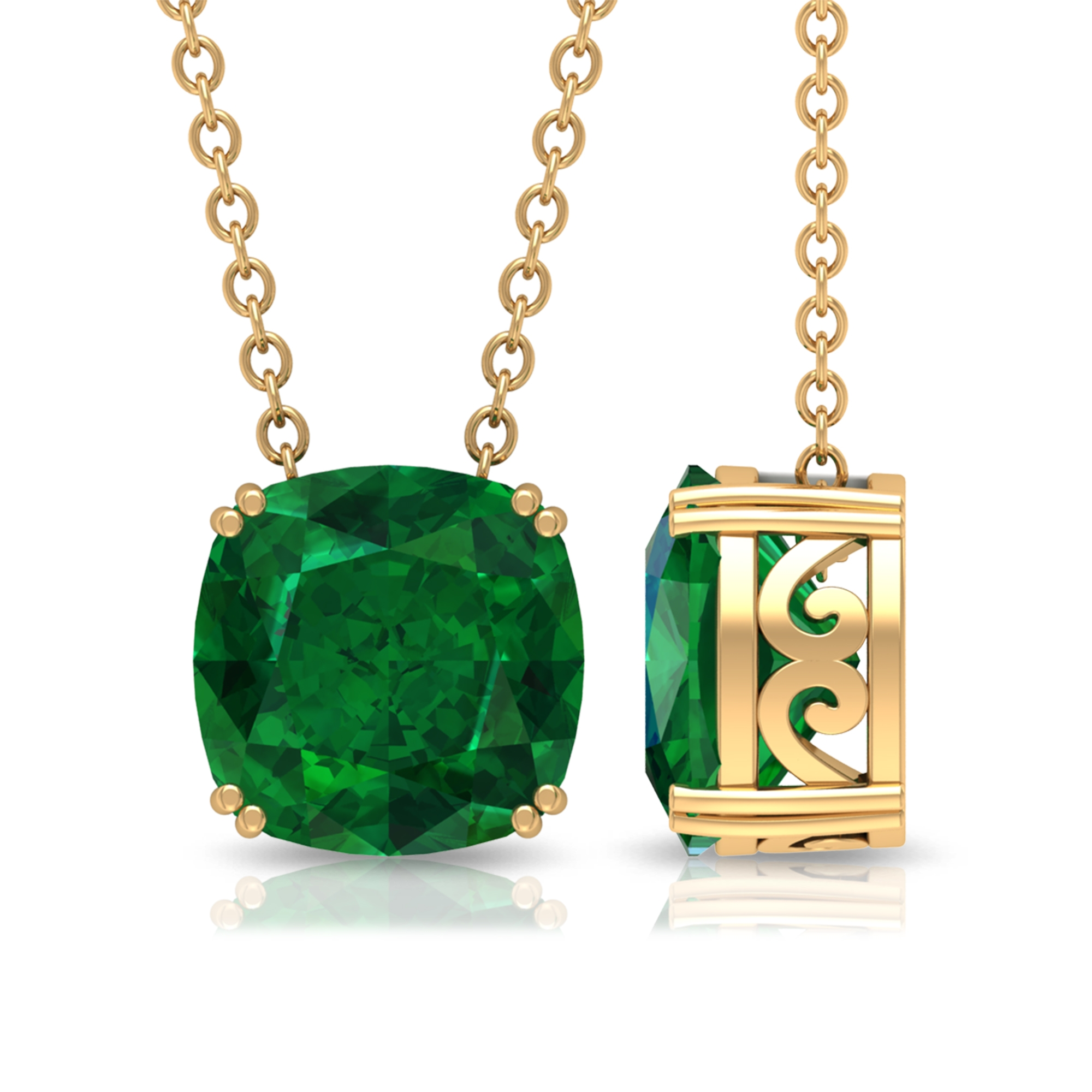 8 MM Cushion Cut Emerald Solitaire Simple Pendant in Double Prong Setting for Women