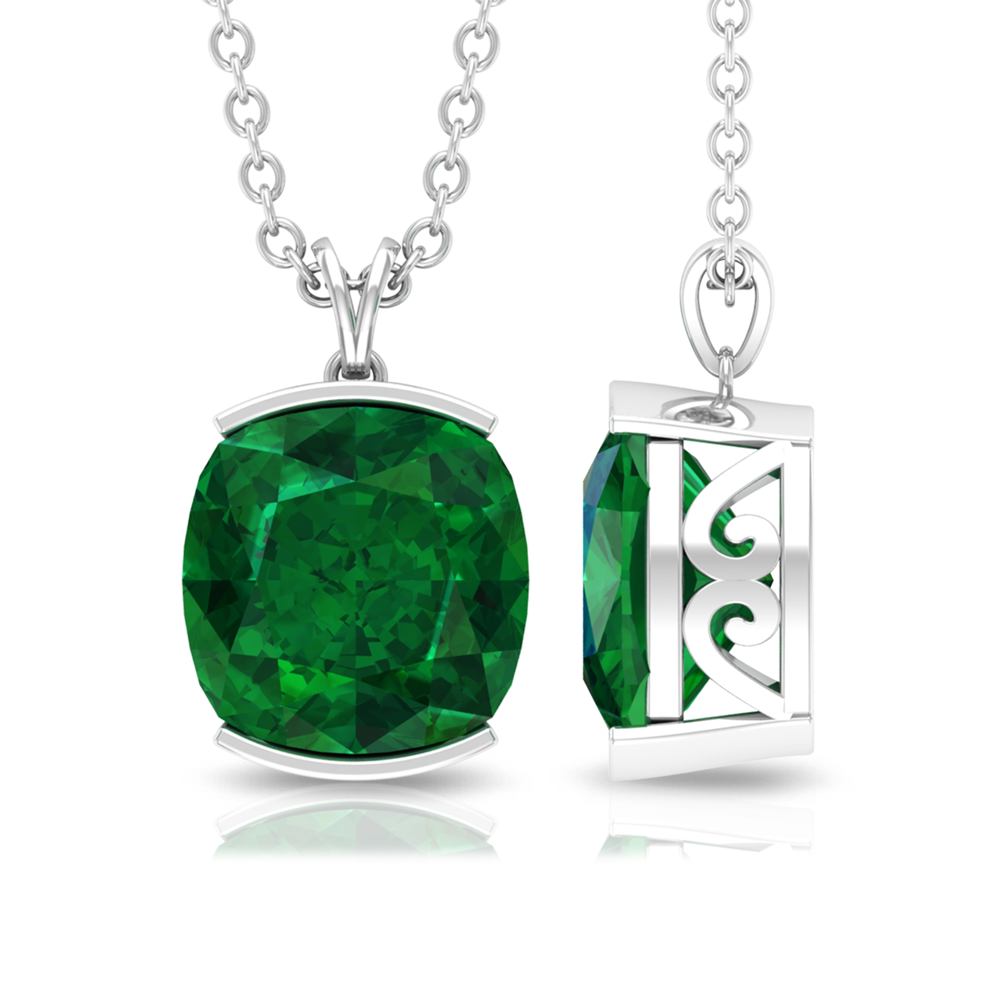 8 MM Cushion Cut Emerald Solitaire Simple Pendant in Half Bezel Setting with Rabbit Ear Bail