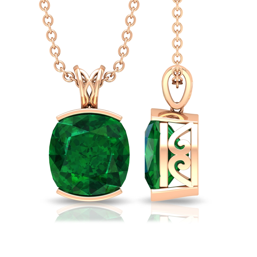 8 MM Cushion Cut Emerald Solitaire Simple Pendant in Half Bezel Setting with Decorative Bail