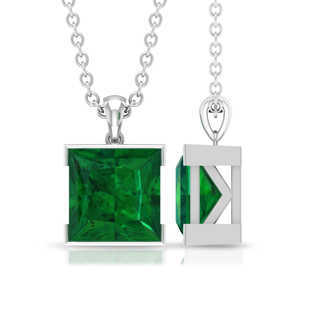 7 MM Princess Cut Emerald Solitaire Simple Pendant in Half Bezel Setting with Standard Bail