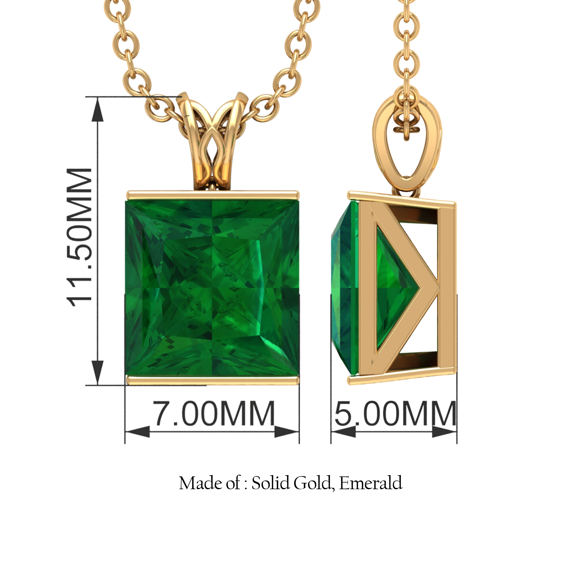 7 MM Princess Cut Emerald Solitaire Pendant in Bar Setting with Decorative Bail