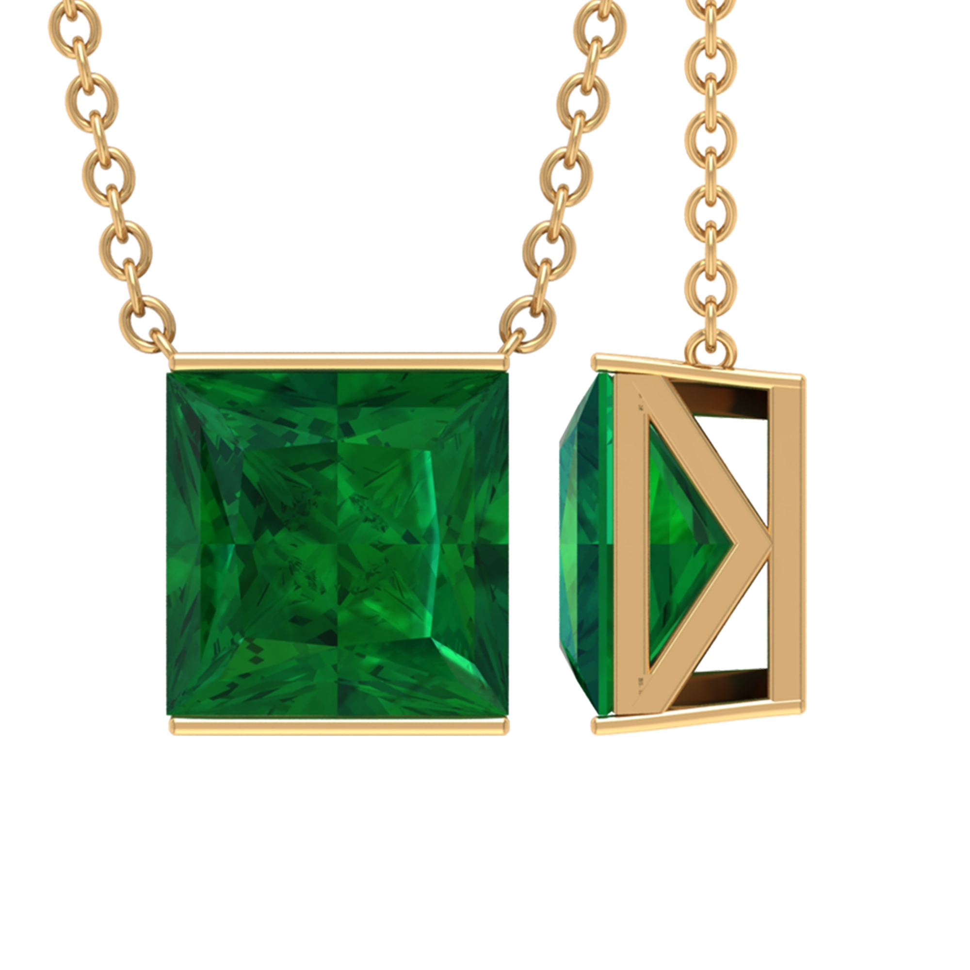 7 MM Princess Cut Emerald Solitaire Simple Necklace in Bar Setting