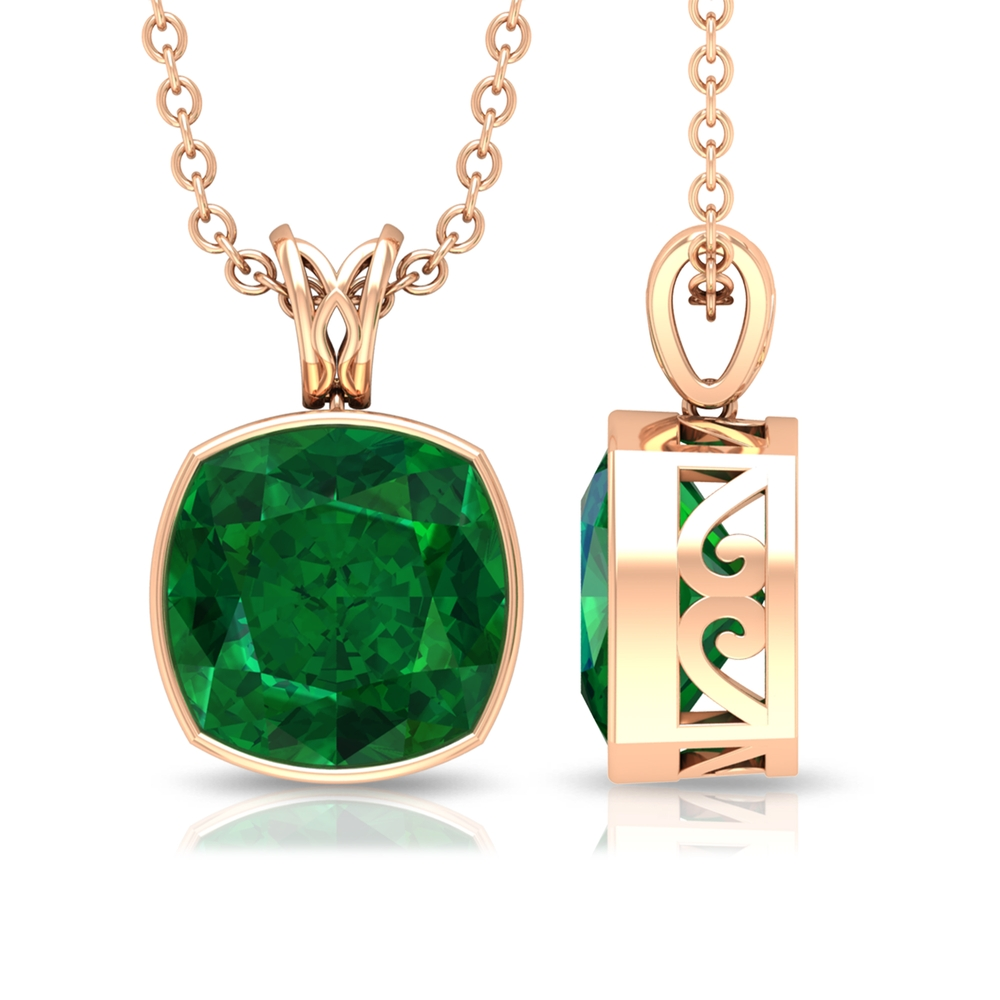 8 MM Cushion Cut Emerald Solitaire Pendant in Bezel Setting with Decorative Bail