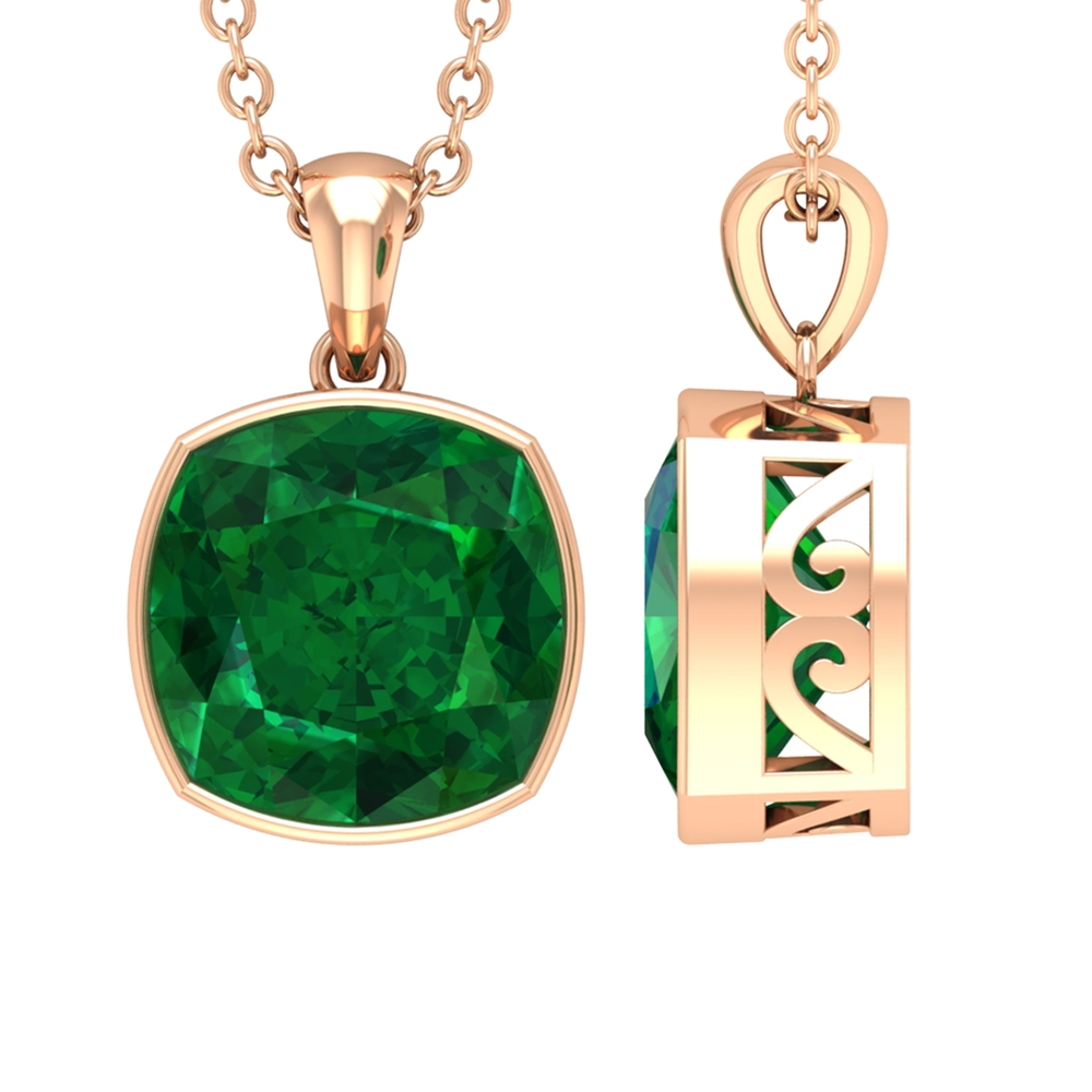 8 MM Cushion Cut Emerald Solitaire Pendant in Bezel Setting with Standard Bail
