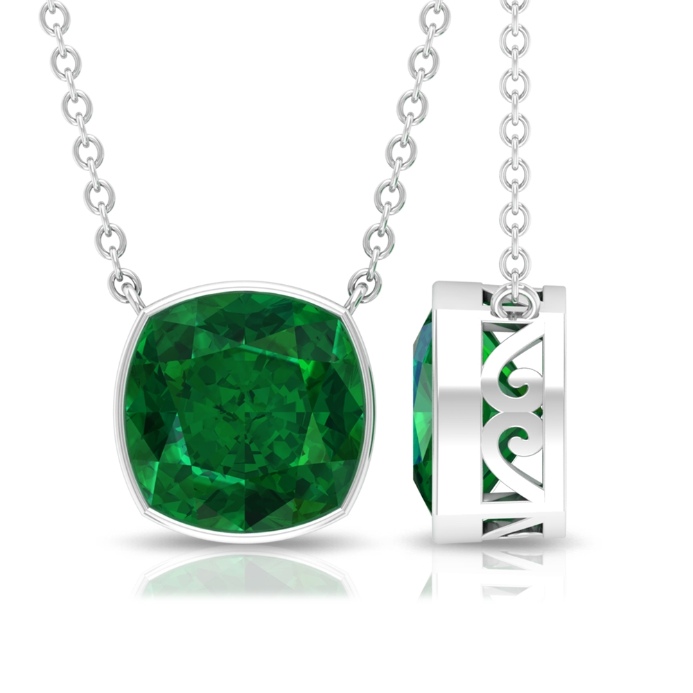8 MM Cushion Cut Emerald Solitaire Necklace in Bezel Setting