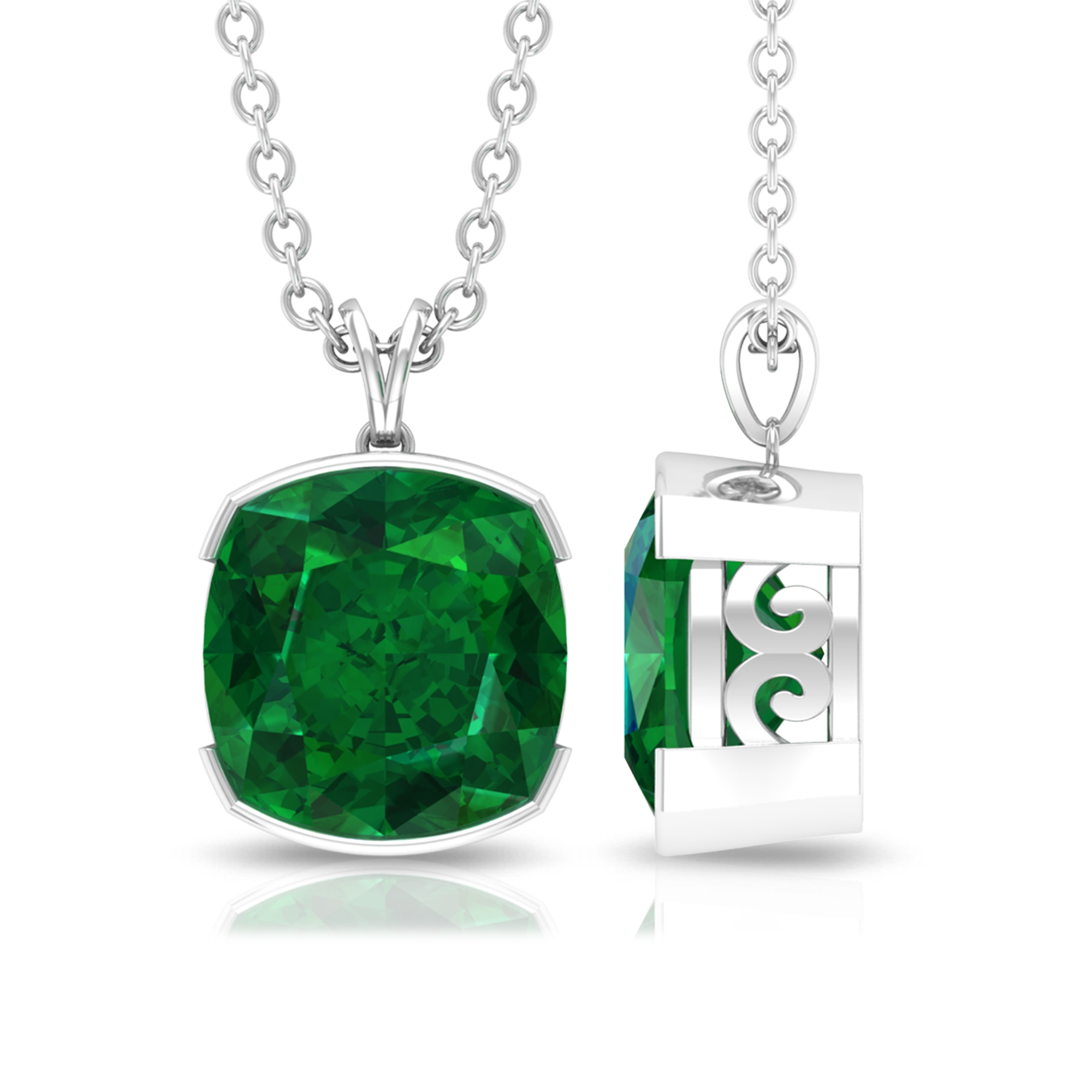 8 MM Cushion Cut Emerald Solitaire Pendant in Half Bezel Setting with Rabbit Ear Bail