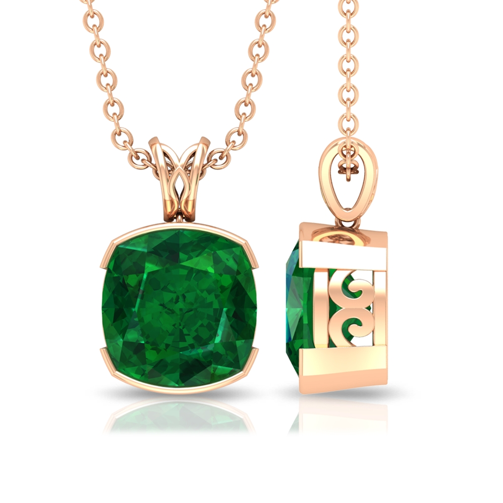 8 MM Cushion Cut Emerald Solitaire Pendant in Half Bezel Setting with Decorative Bail