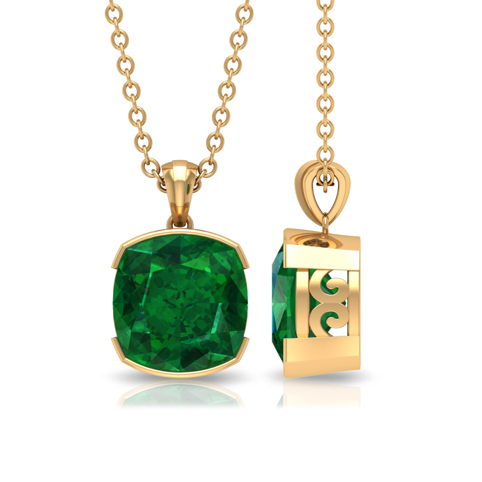 8 MM Cushion Cut Emerald Solitaire Pendant in Half Bezel Setting with Standard Bail