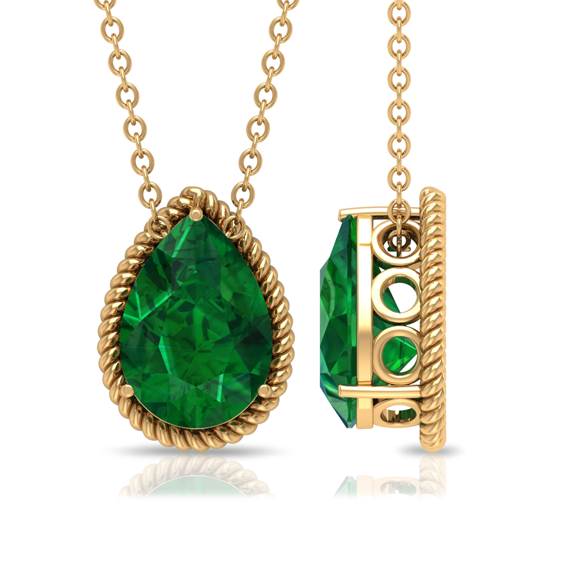 7X10 MM 3 Prong Set Pear Cut Emerald Solitaire Pendant with Rope Frame