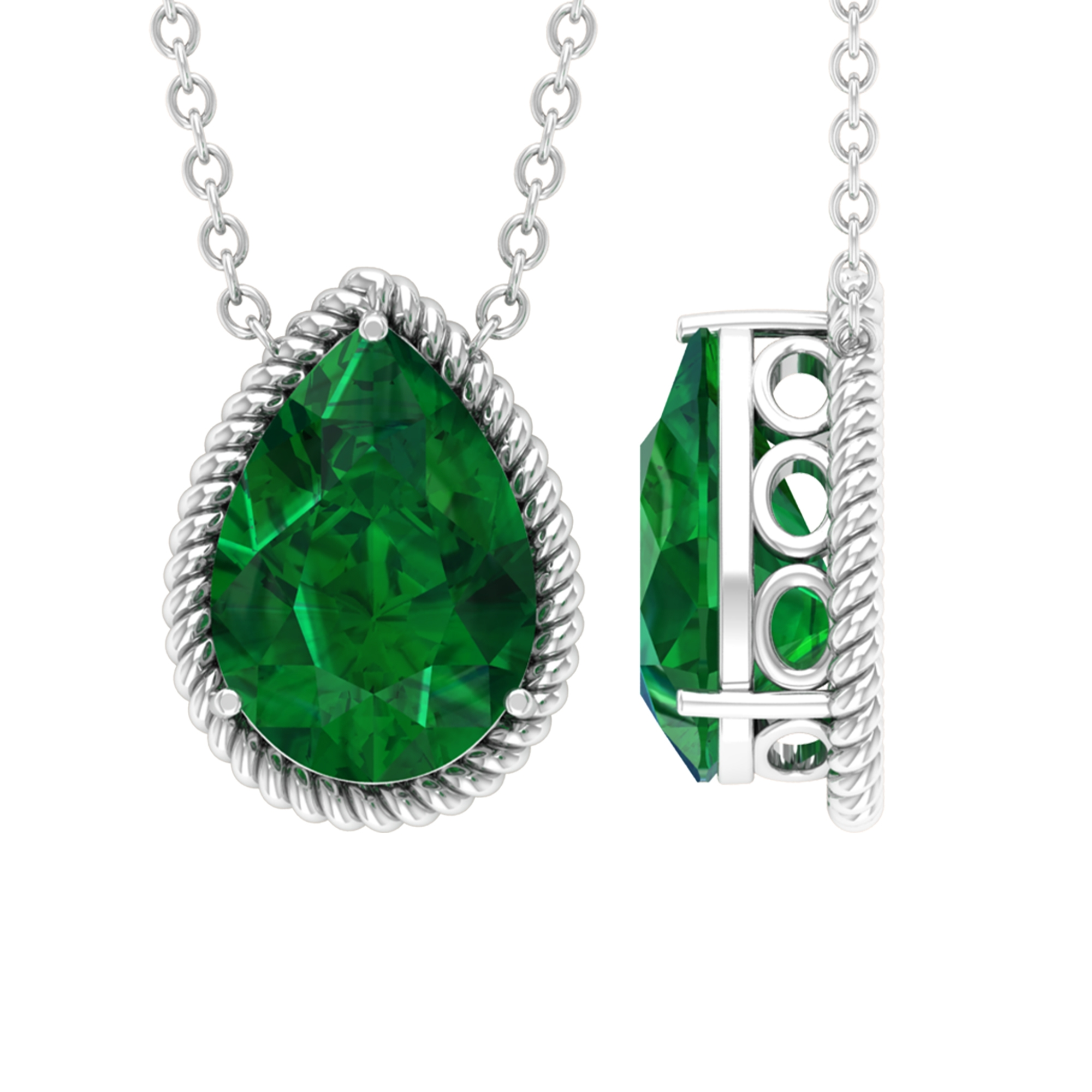 7X10 MM 3 Prong Set Pear Cut Emerald Solitaire Necklace with Rope Frame