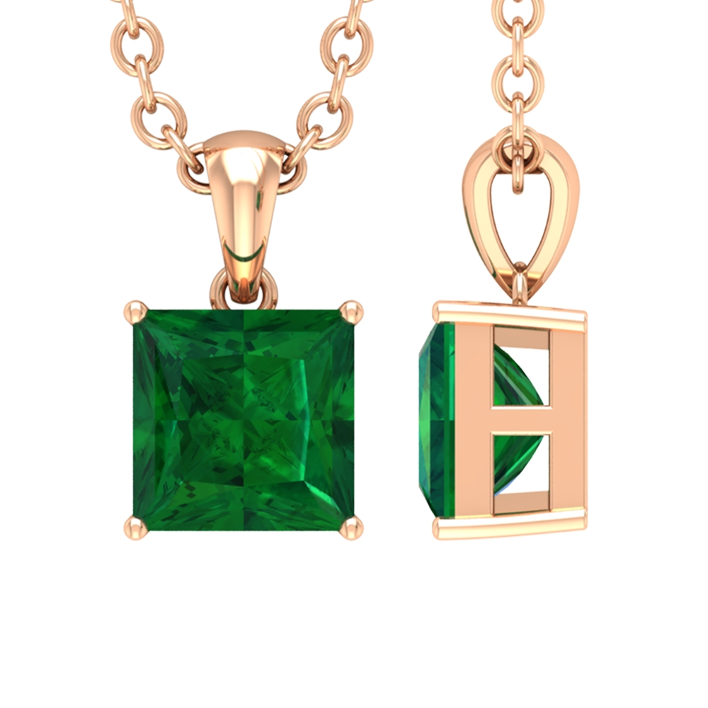 4.5 MM Princess Cut Emerald Solitaire Simple Pendant in 4 Prong Setting
