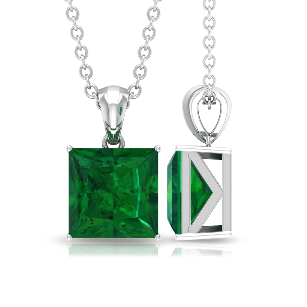 7 MM Princess Cut Emerald Simple Solitaire Pendant in 4 Prong Setting with Standard Bail