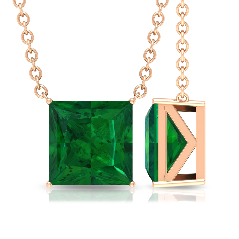 7 MM Princess Cut Emerald Solitaire Simple Necklace in 4 Prong Setting