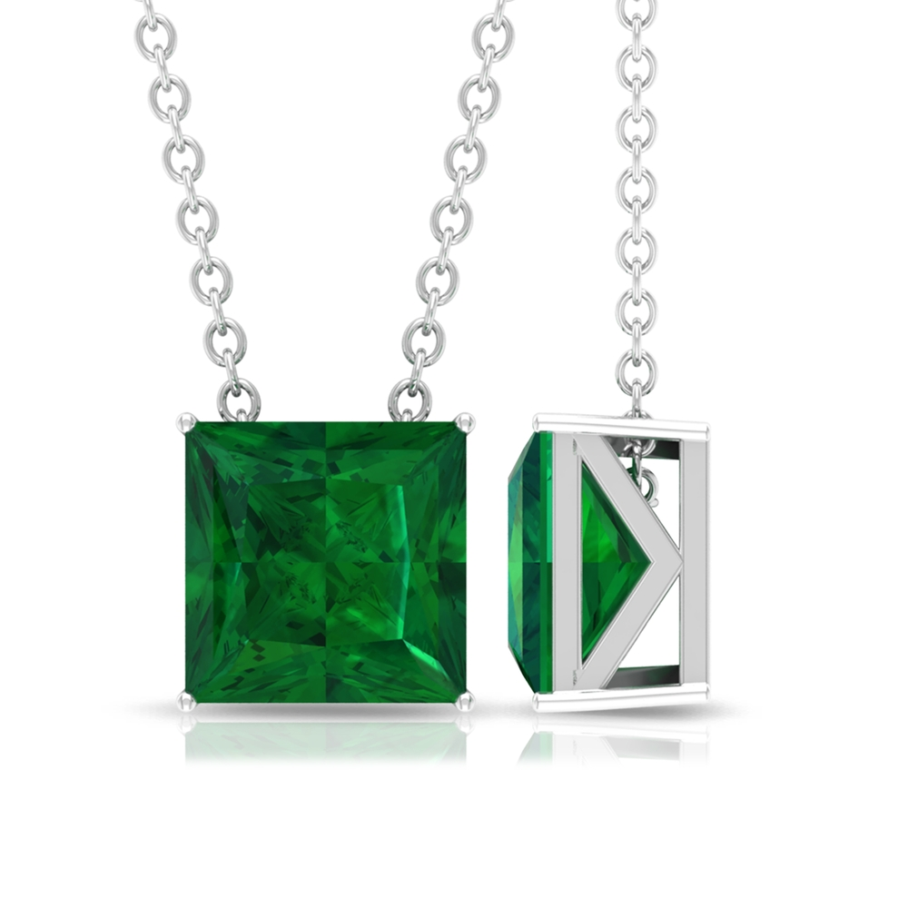 7 MM Princess Cut Emerald Solitaire Pendant in 4 Prong Setting