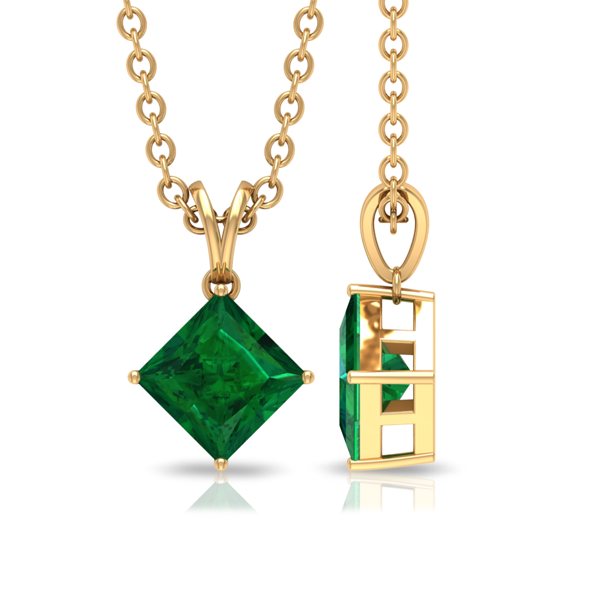 4.5 MM Princess Cut Emerald Solitaire Minimal Pendant in 4 Prong Setting with Rabbit Ear Bail