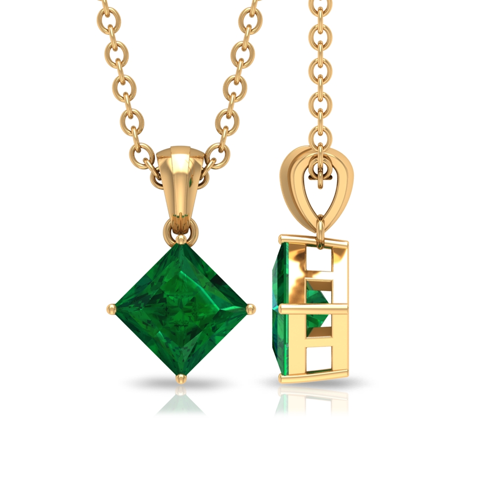 4.5 MM Princess Cut Emerald Solitaire Simple Pendant with Bail in 4 Prong Setting