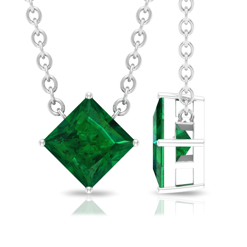 4.5 MM Princess Cut Emerald Minimal Solitaire Necklace in 4 Prong Set