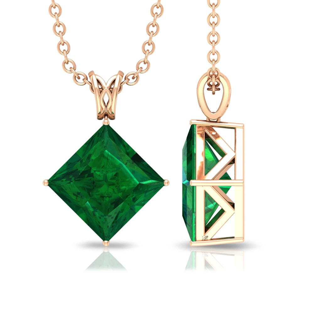 4 Prong Diagonal Solitaire Pendant with 7 MM Princess Cut Emerald with Decorative Bail