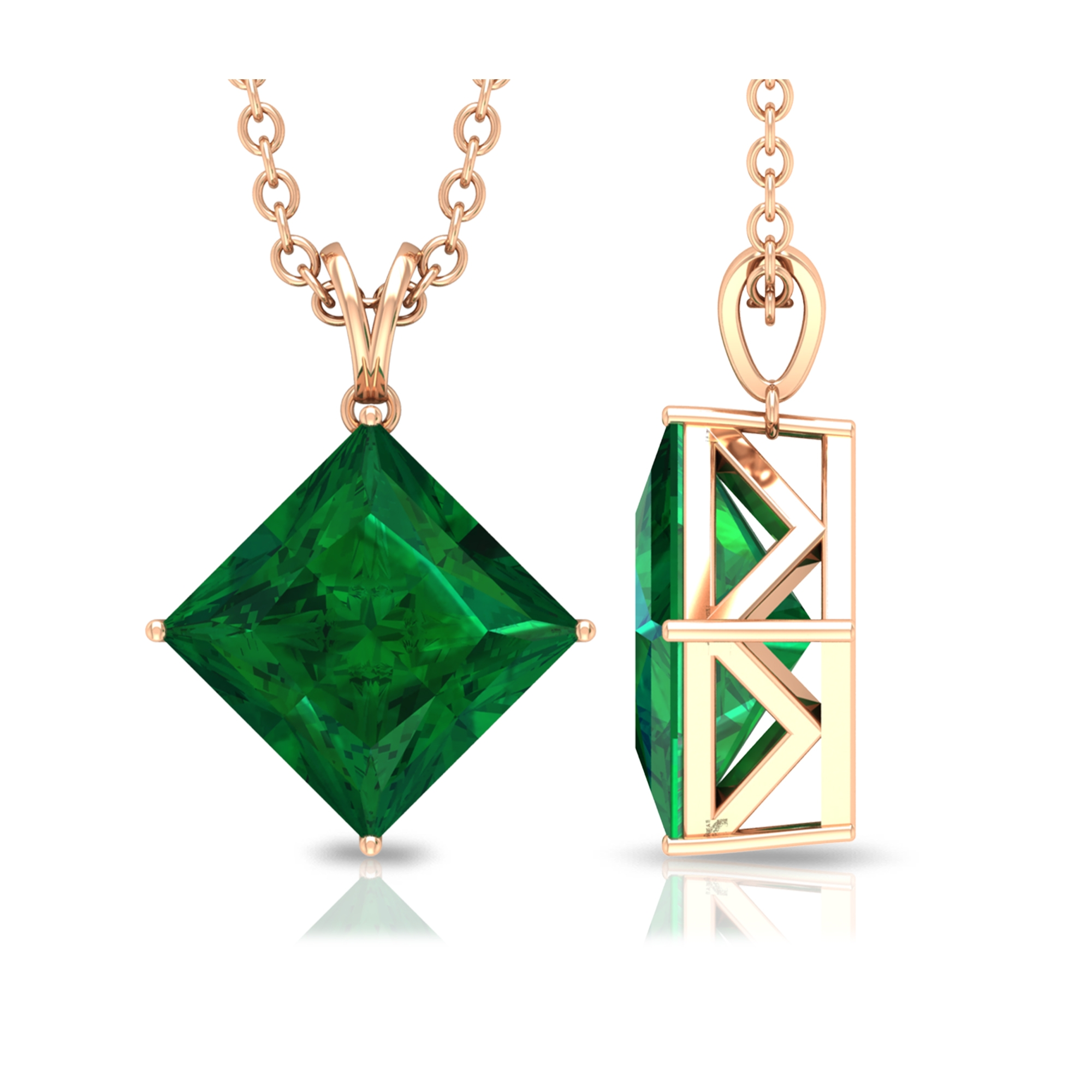 4 Prong Diagonal Solitaire Pendant with 7 MM Princess Cut Emerald with Rabbit Ear Bail