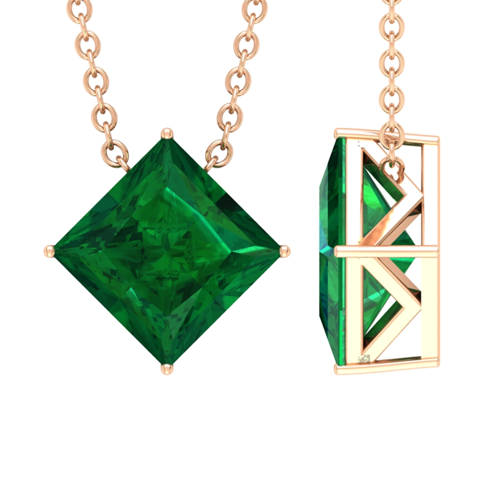 7 MM Princess Cut Emerald Solitaire Pendant Necklace in 4 Prong Diagonal Setting
