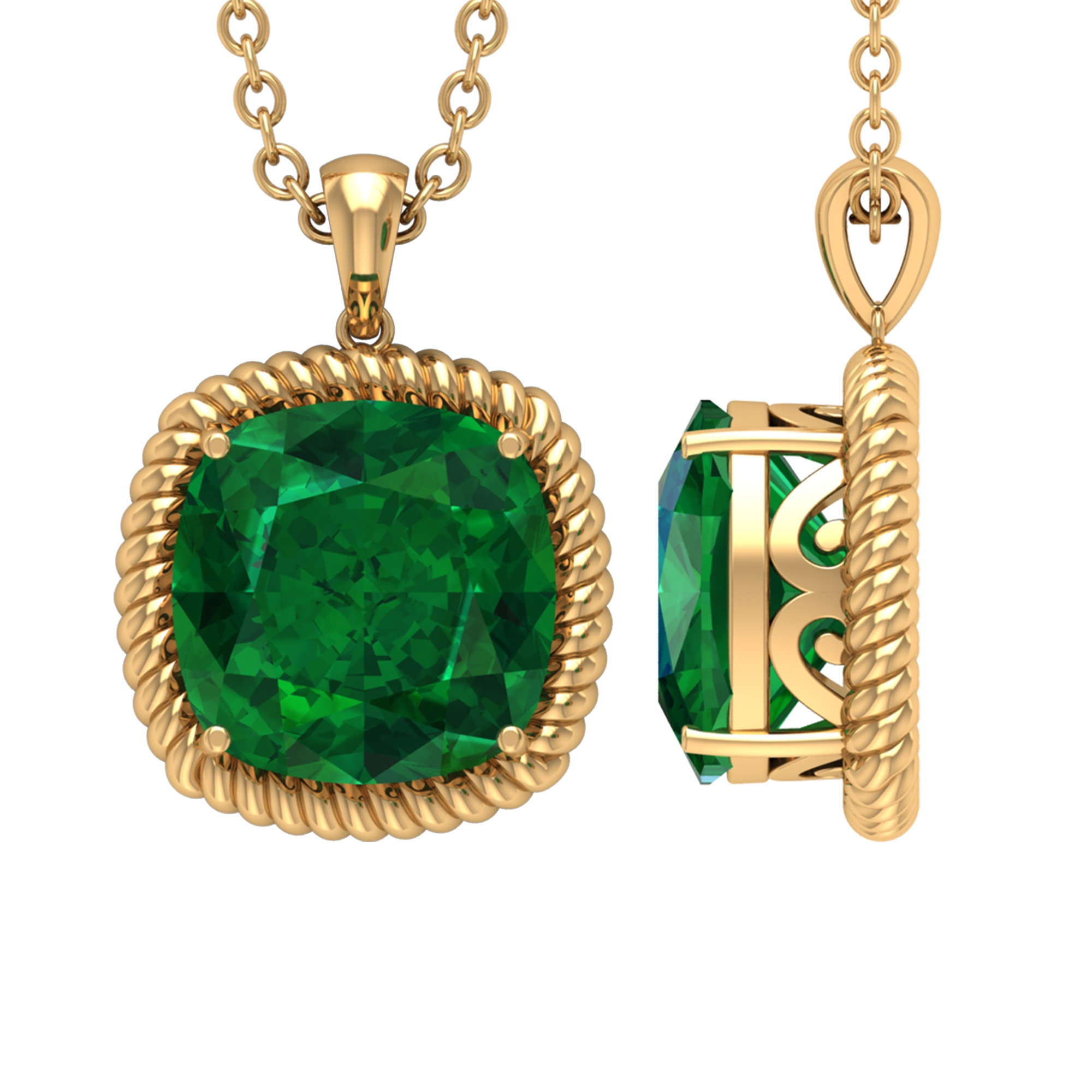 Vintage Inspired Solitaire Pendant with 8 MM Cushion Cut Emerald in 4 Prong Setting with Rope Frame