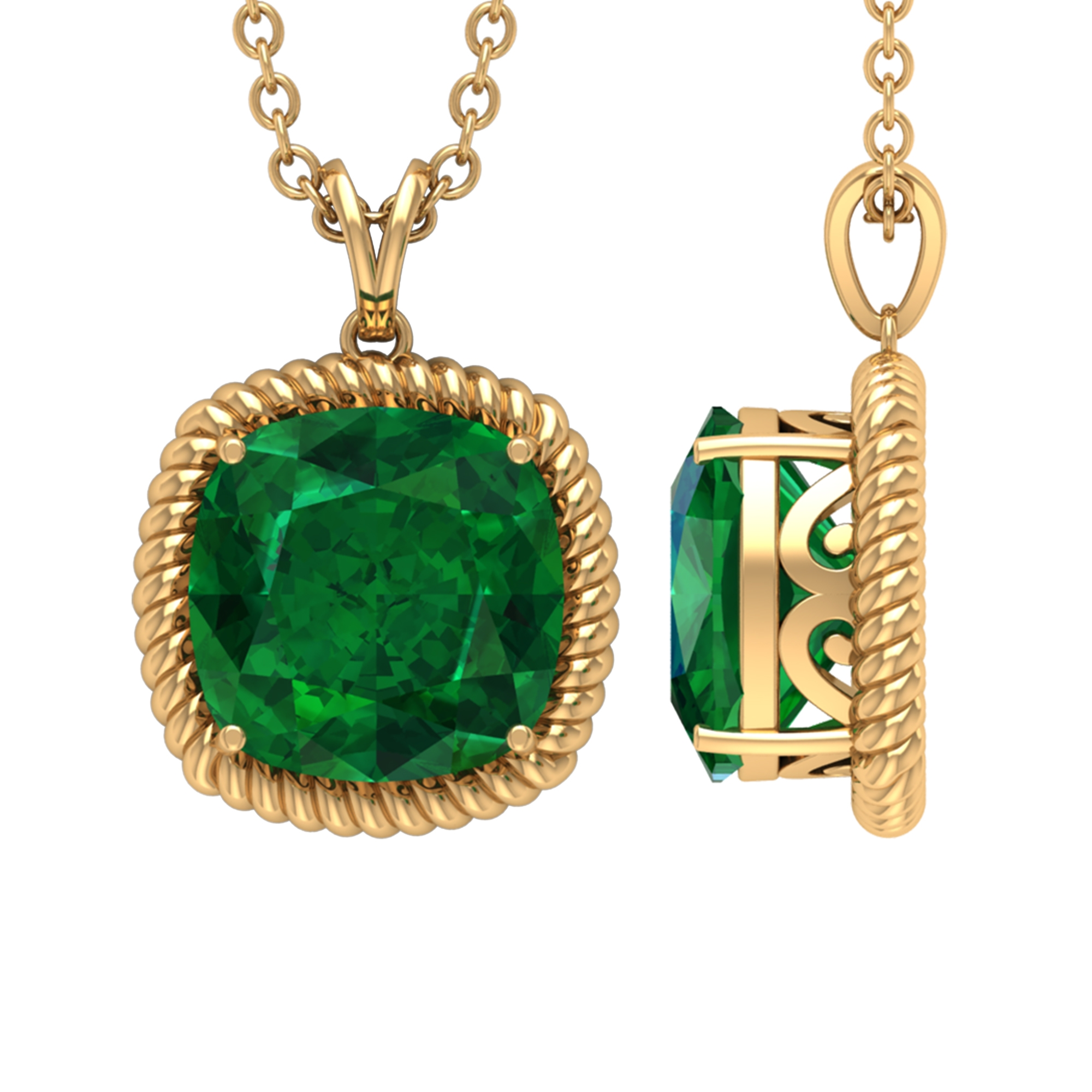 8 MM Cushion Cut Emerald Vintage Inspired Solitaire Pendant with Rabbit Ear Bail and Rope Frame
