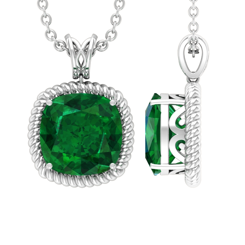 8 MM Cushion Cut Emerald Vintage Inspired Solitaire Pendant with Decorative Bail and Rope Frame