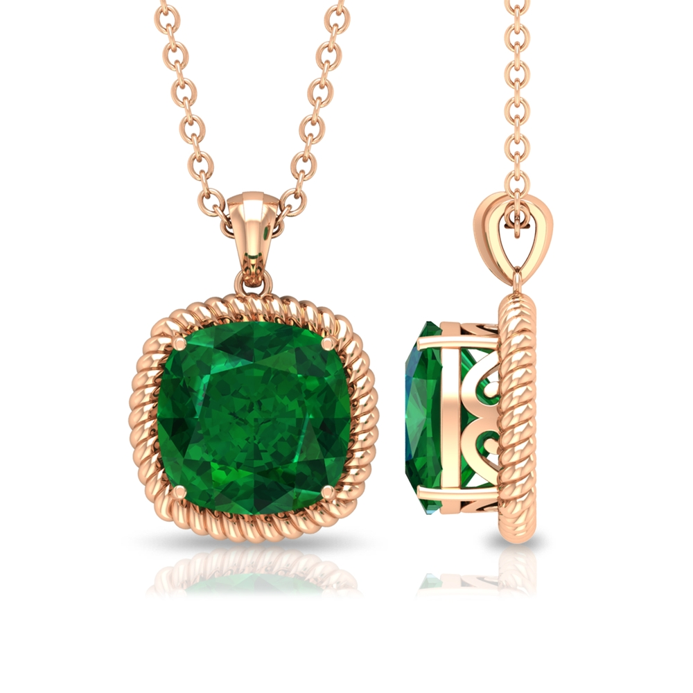 8 MM Cushion Cut Emerald Vintage Inspired Solitaire Pendant Bail and Rope Frame