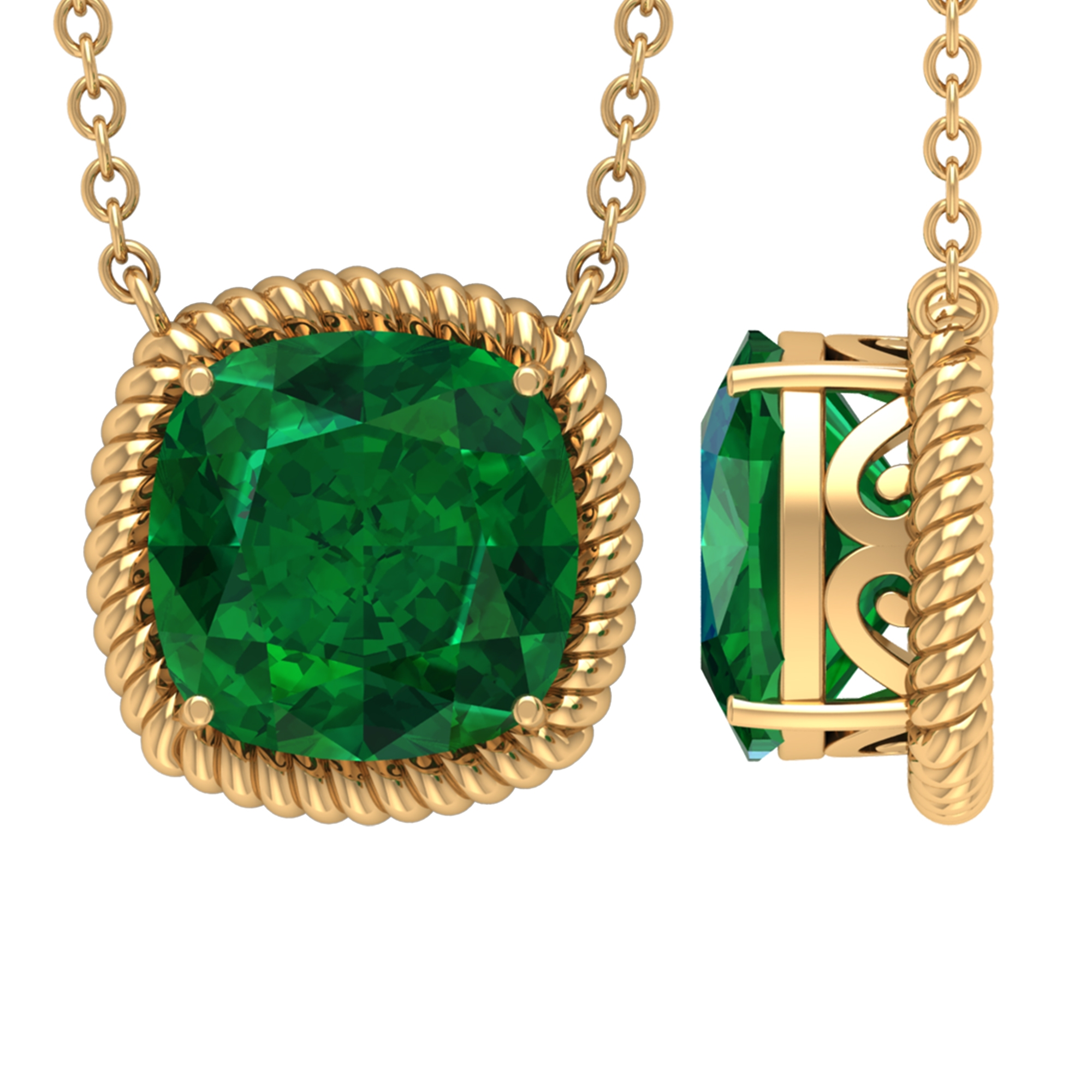 8 MM Cushion Cut Emerald Solitaire Pendant in 4 Prong Setting in Rope Frame