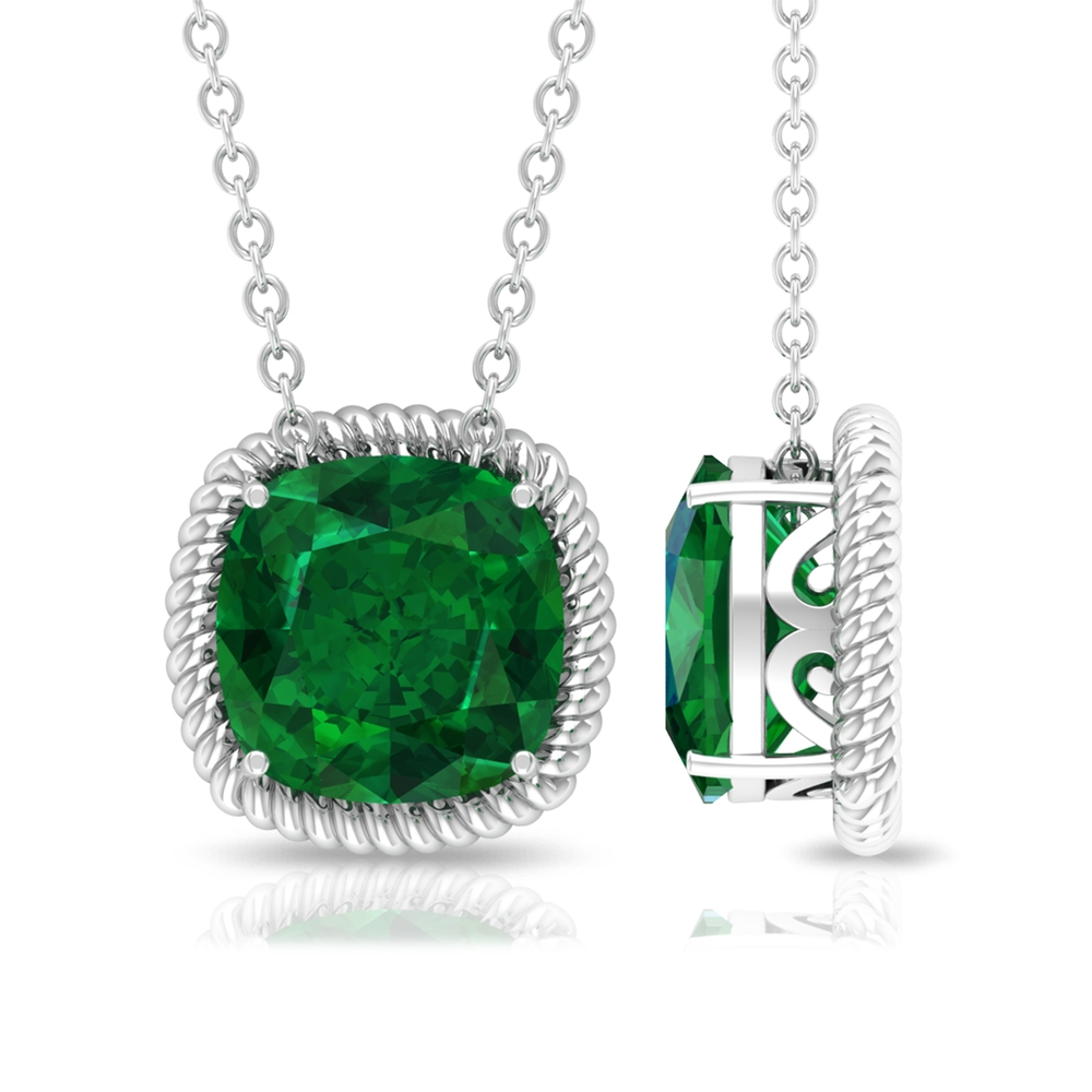 8 MM Cushion Cut Emerald Solitaire Pendant in Prong Setting in Rope Frame for Women