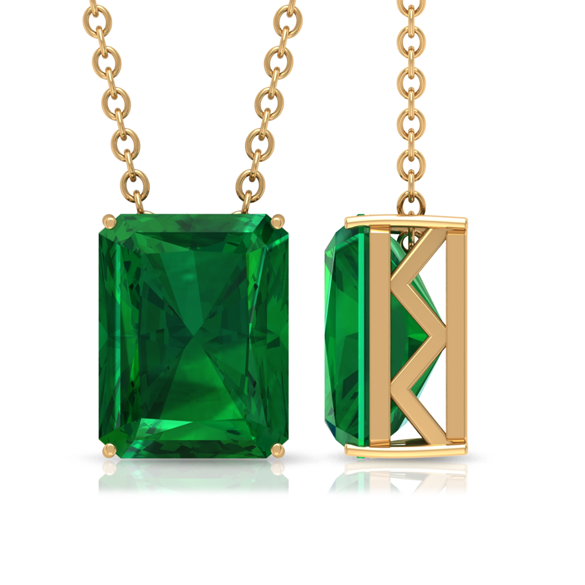 7X9 MM Octagon Emerald Solitaire Pendant in 4 Prong Setting