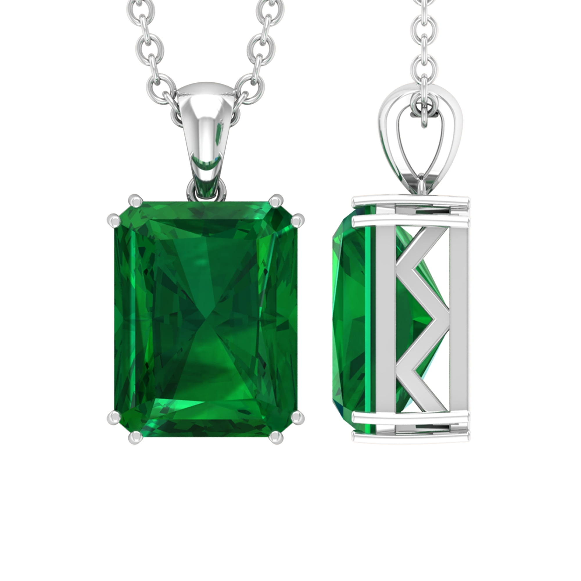 7X9 MM Octagon Emerald Solitaire Pendant in Double Prong Setting