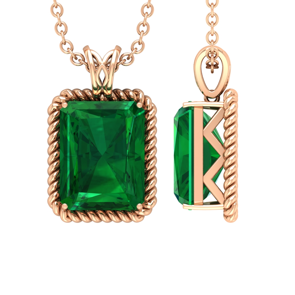7X9 MM Octagon Emerald Solitaire Pendant in Prong Setting with Decorative Bail in Rope Frame