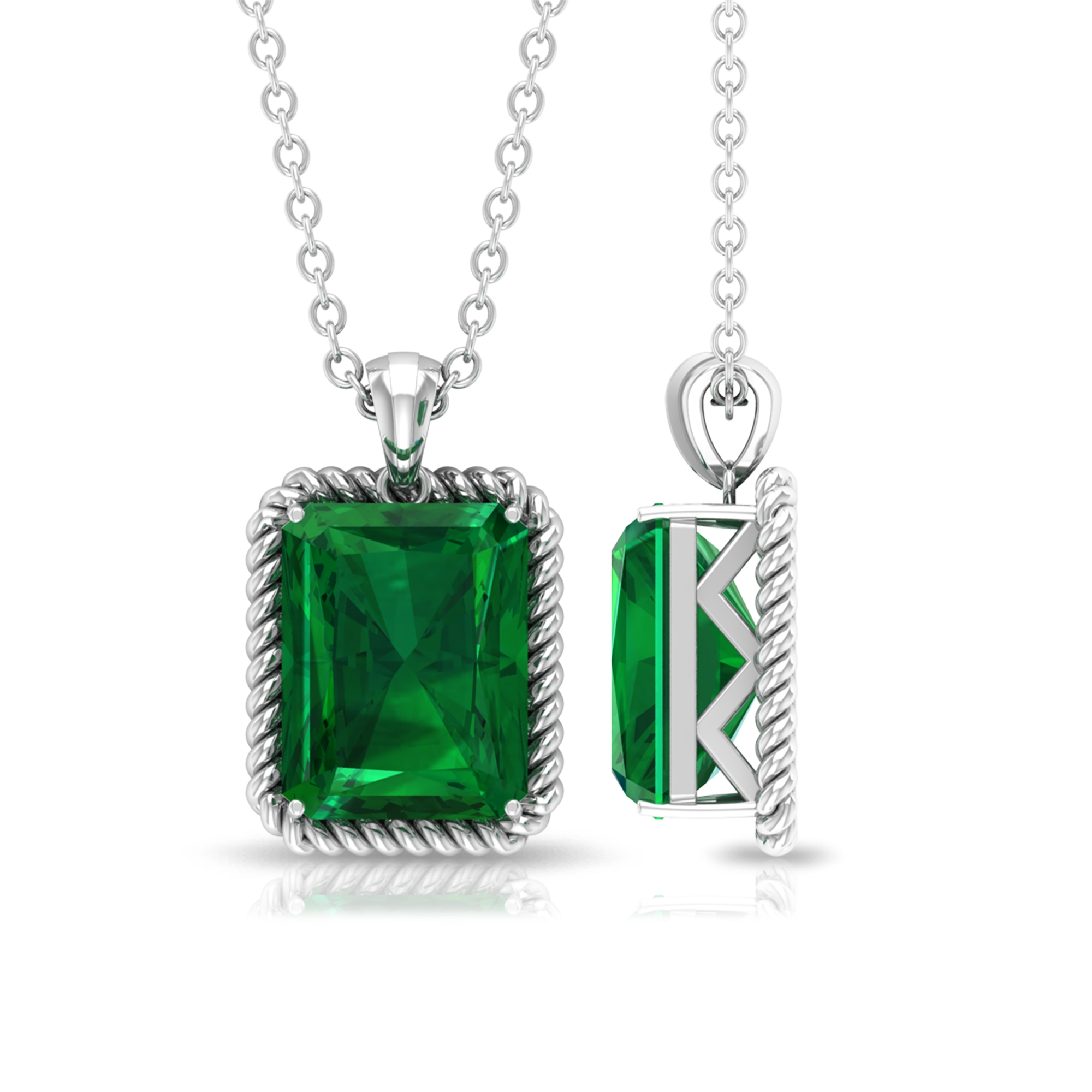 7X9 MM Octagon Cut Emerald Solitaire Pendant in Prong Setting with Bail in Rope Frame