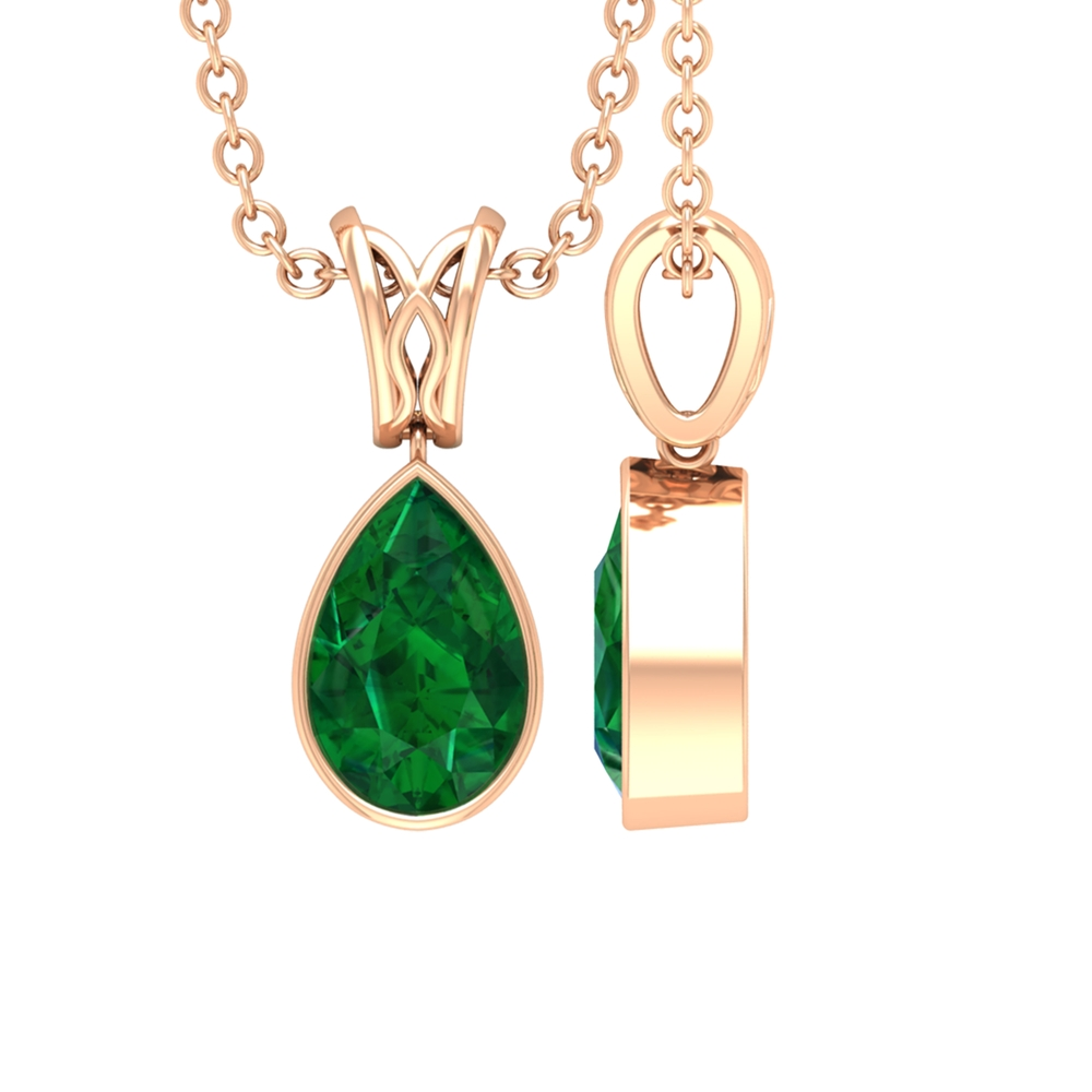 4.5X7 MM Pear Emerald Teardrop Necklace in Bezel Setting with Decorative Bail
