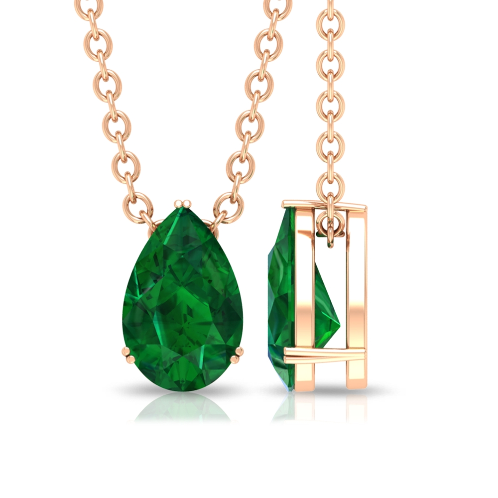 4.5X7 MM Teardrop Emerald Solitaire Pendant in Double Prong Setting