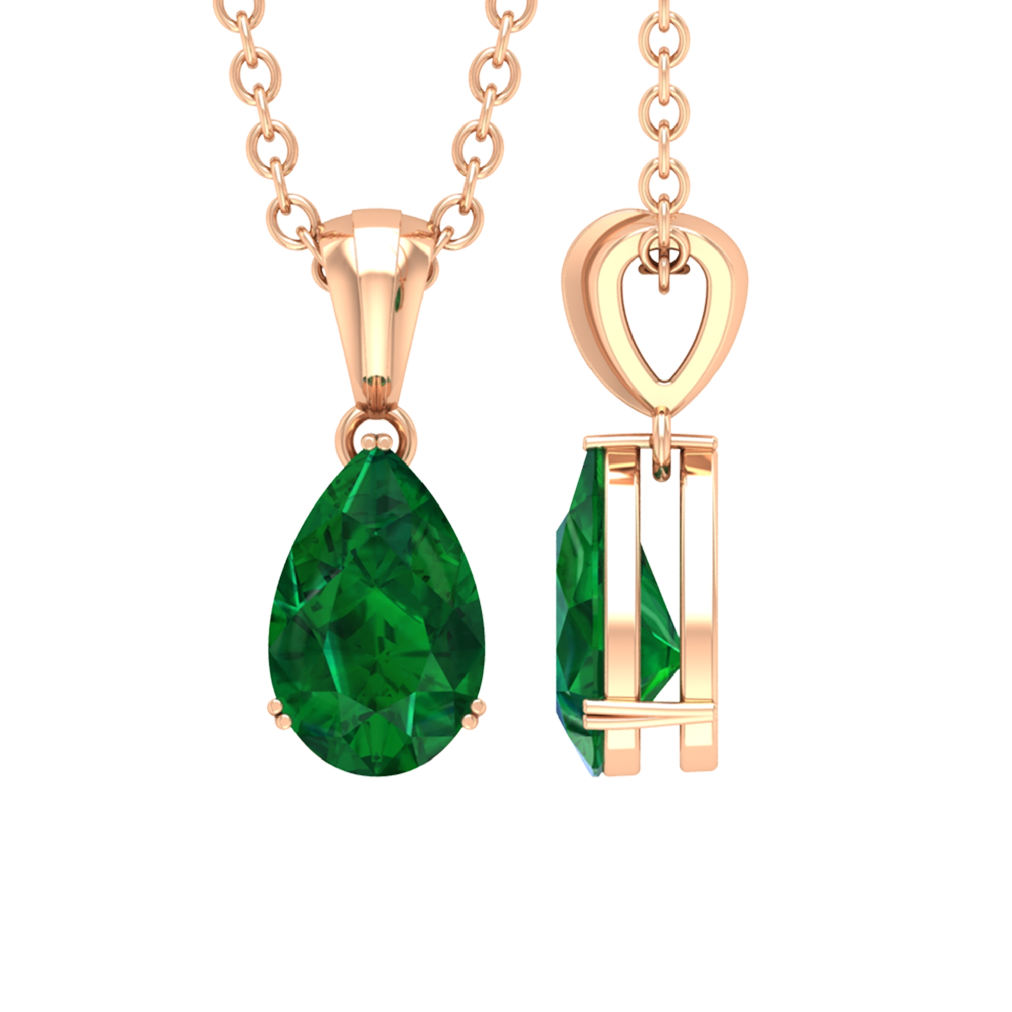 4.5X7 MM Teardrop Emerald Solitaire Pendant in Double Prong Setting with Standard Bail