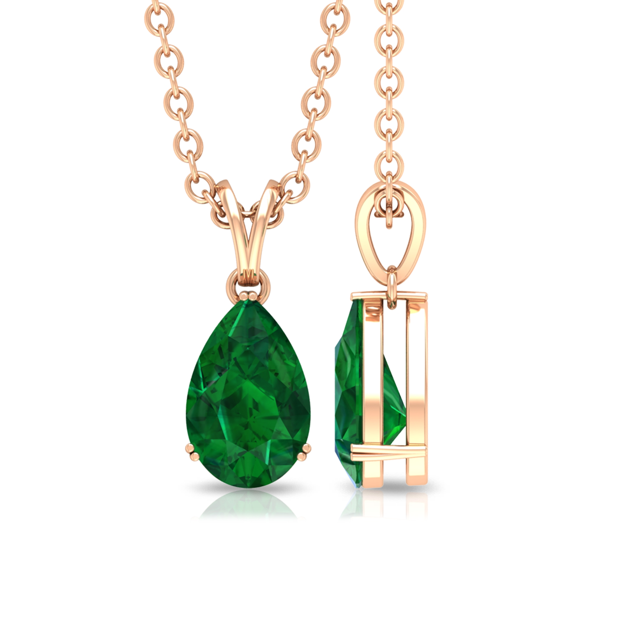 4.5X7 MM Teardrop Emerald Solitaire Pendant in Double Prong Setting with Rabbit Ear Bail
