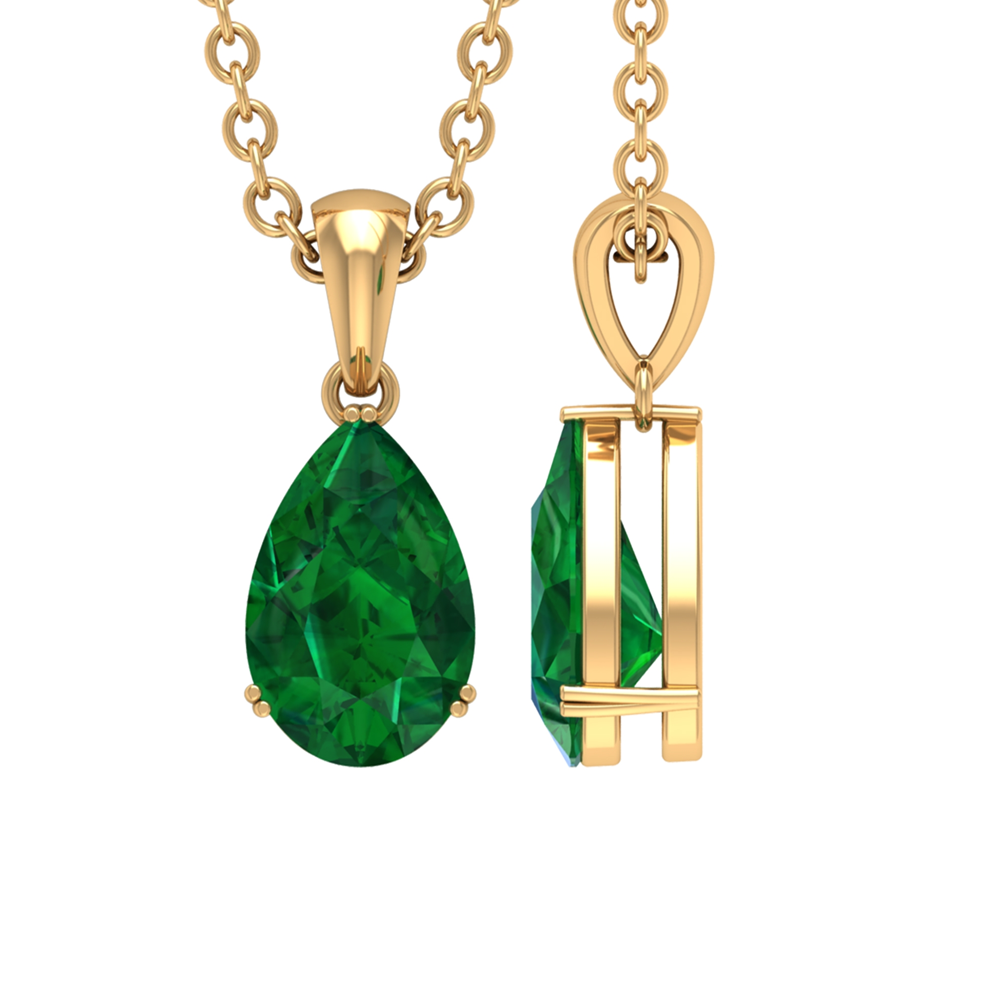 4.5X7 MM Teardrop Emerald Solitaire Pendant in Double Prong Setting for Women