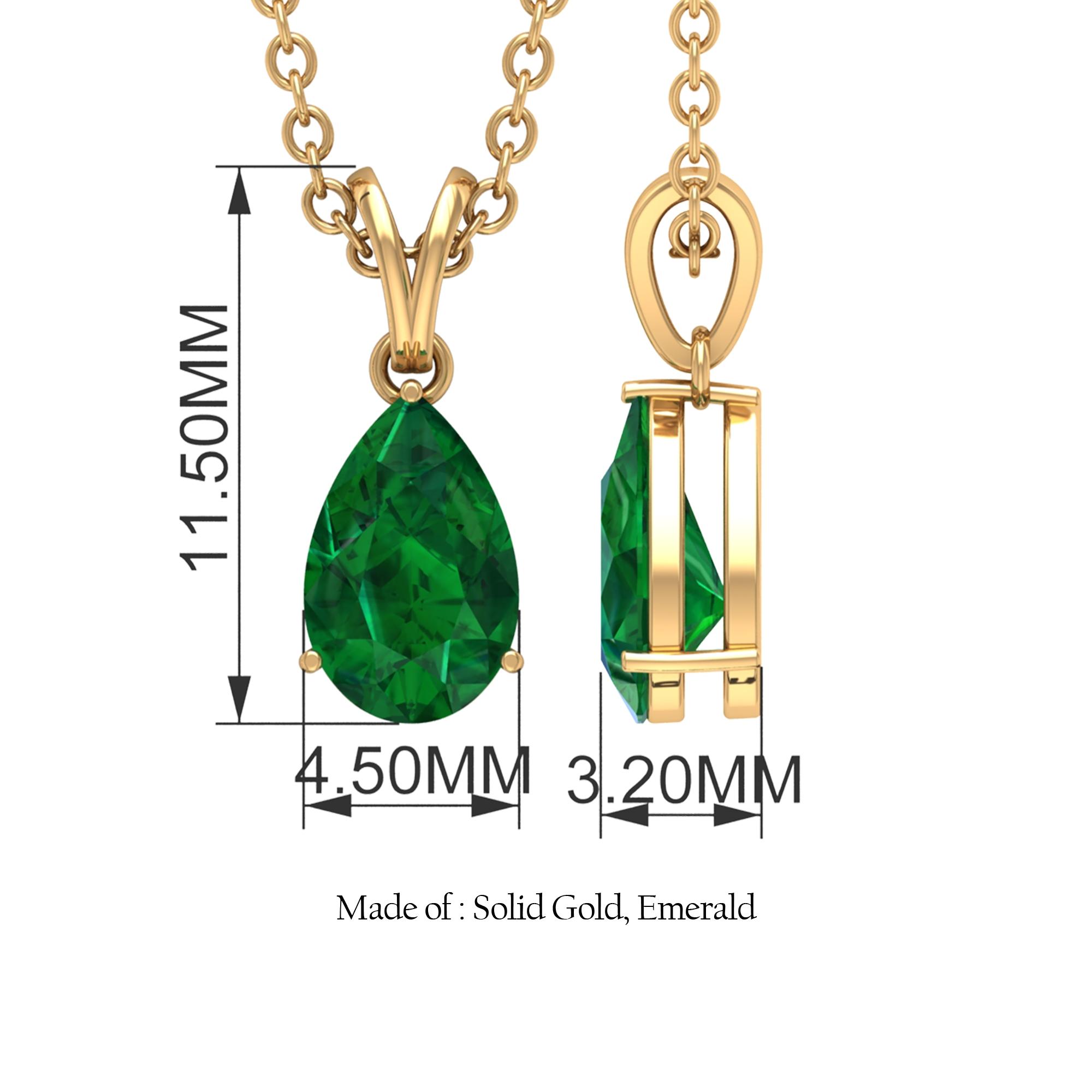 4.5X7 MM Teardrop Emerald Solitaire Pendant in 3 Prong Setting with Rabbit Ear Bail