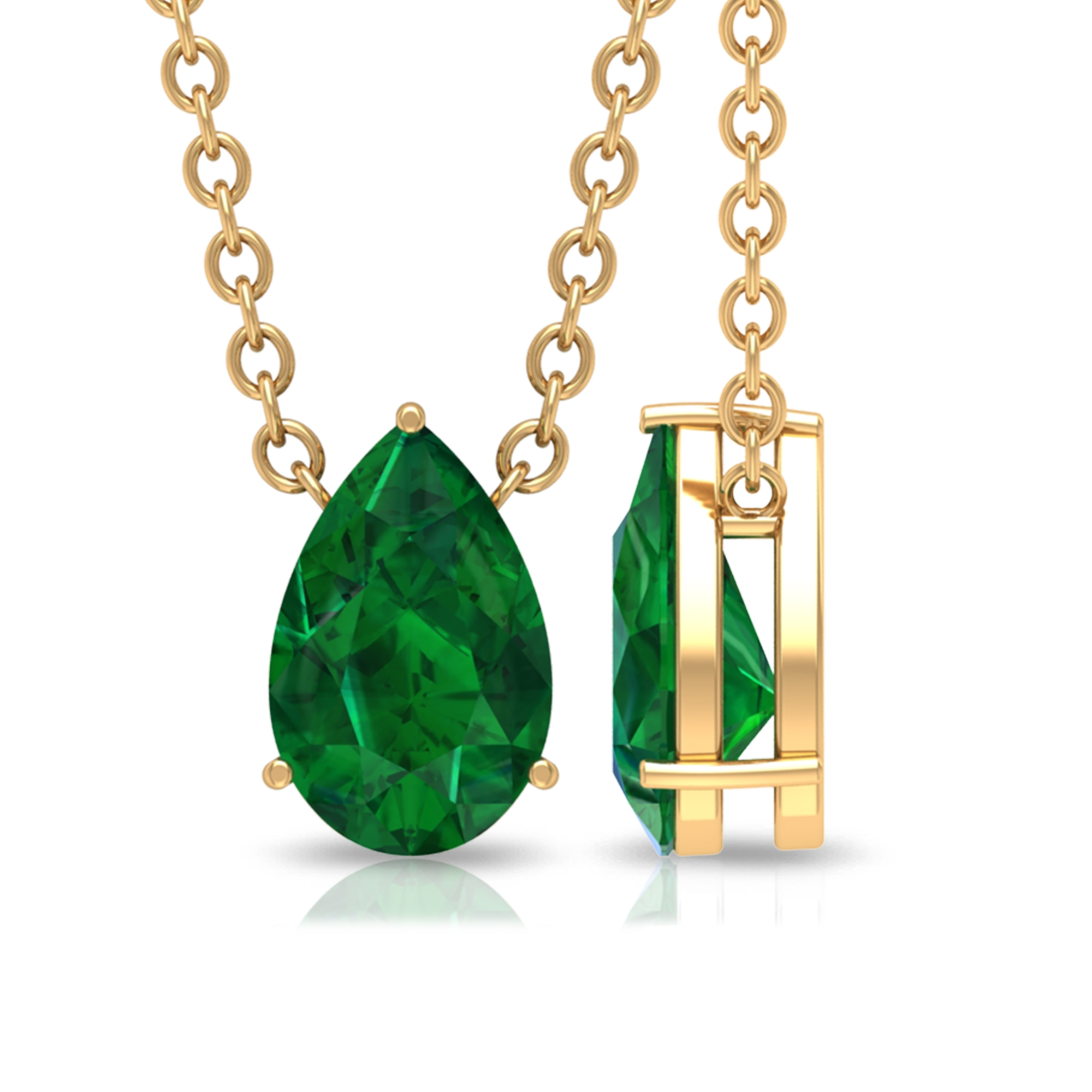 4.5X7 MM Teardrop Emerald Solitaire Pendant in 3 Prong Setting