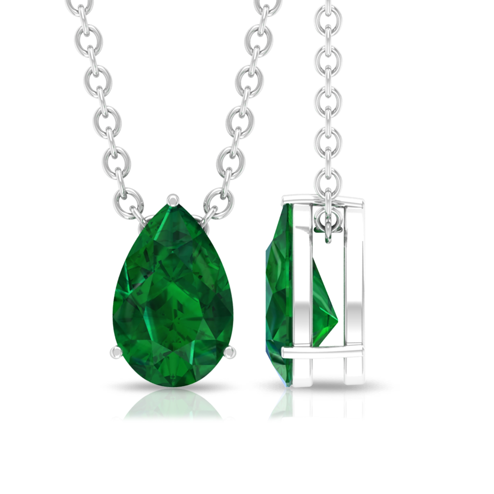 4.5X7 MM Teardrop Emerald Solitaire Pendant in 3 Prong Setting for Women
