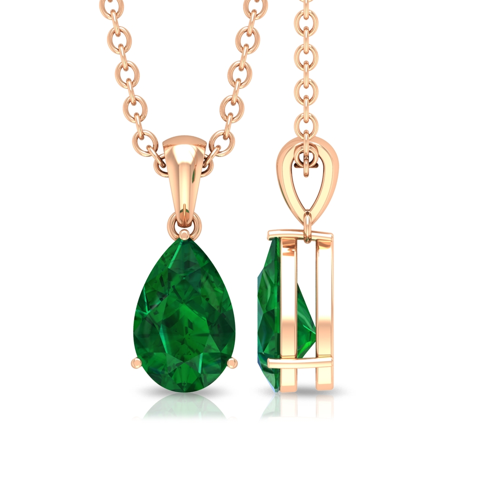 4.5X7 MM Pear Cut Emerald Solitaire Pendant in 3 Prong Setting for Women