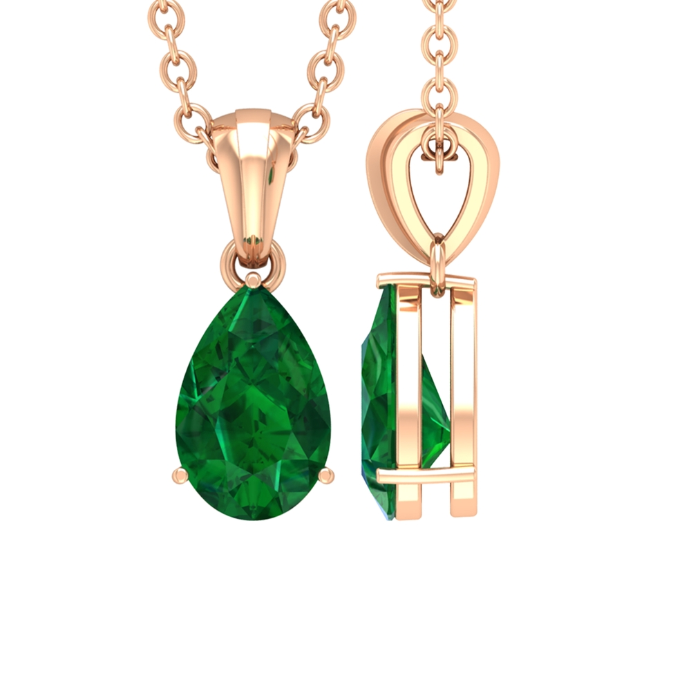 4.5X7 MM Teardrop Emerald Solitaire Pendant in 3 Prong Setting with Bail