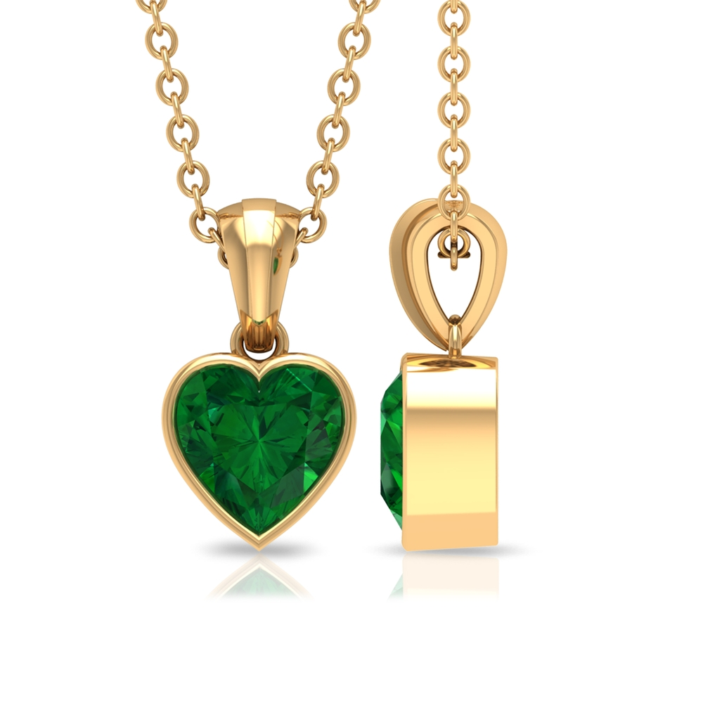 5.4 MM Heart Shape Emerald Solitaire Pendant in Bezel Setting with Bail